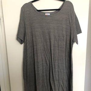 LuLaRoe Carly 3X Gray High/low swing dress
